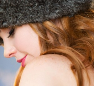 Cute Girl Wearing Black Fur Hat Wallpaper